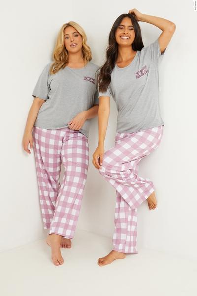 Grey Check Long Pyjama Set